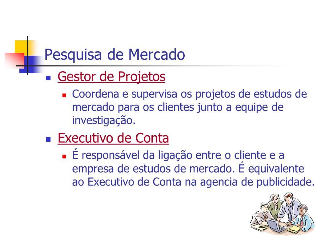 Pesquisa de Mercado Gestor de Projetos Coordena e supervisa os projetos de estudos de mercado para os clientes junto a equipe de investigação. Executi