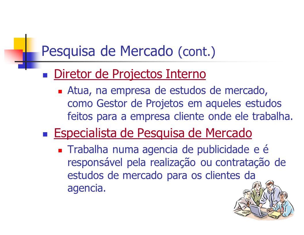 Pesquisa de Mercado (cont.) Diretor de Projectos Interno Atua, na empresa de estudos de mercado, como Gestor de Projetos em aqueles estudos feitos par