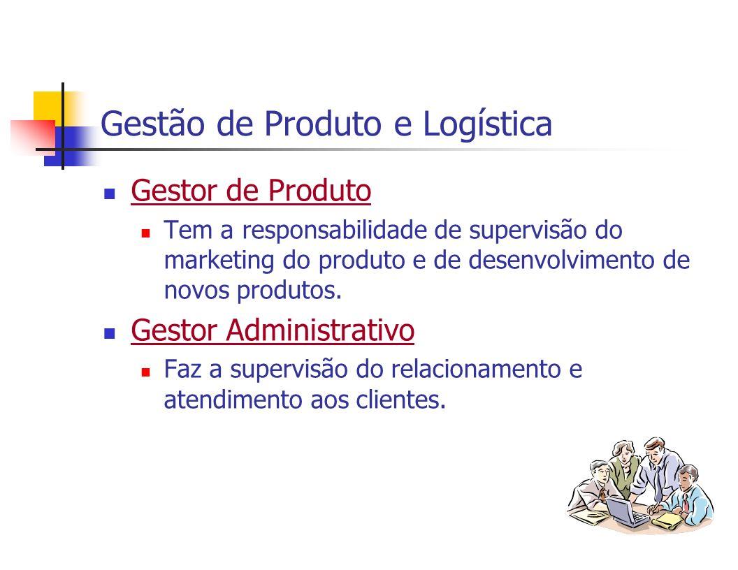 Gestão de Produto e Logística (cont.) Gestor de Operações Tem a responsabilidade de supervisão do armazenamento e outras operações de distribuiçao física.