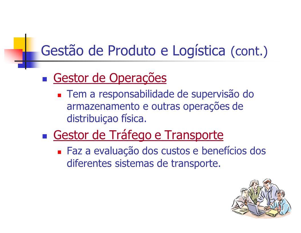 Gestão de Produto e Logística (cont.) Gestor de Operações Tem a responsabilidade de supervisão do armazenamento e outras operações de distribuiçao fís