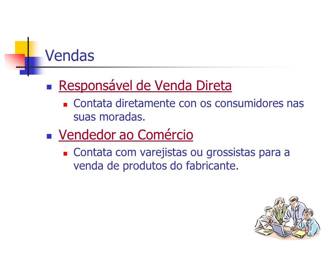Vendas Responsável de Venda Direta Contata diretamente con os consumidores nas suas moradas. Vendedor ao Comércio Contata com varejistas ou grossistas