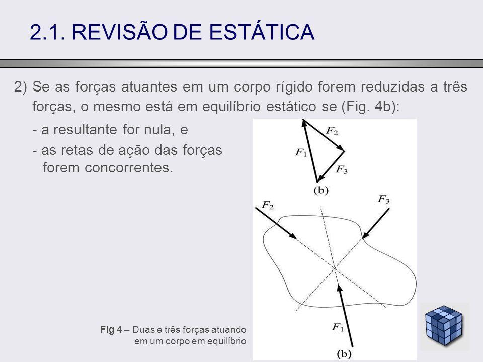 2) Se as forças atuantes em um corpo rígido forem reduzidas a três forças, o mesmo está em equilíbrio estático se (Fig. 4b): - a resultante for nula,