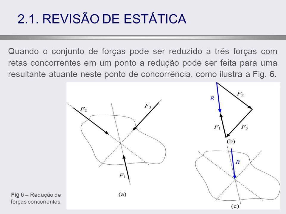 Quando o conjunto de forças pode ser reduzido a três forças com retas concorrentes em um ponto a redução pode ser feita para uma resultante atuante ne