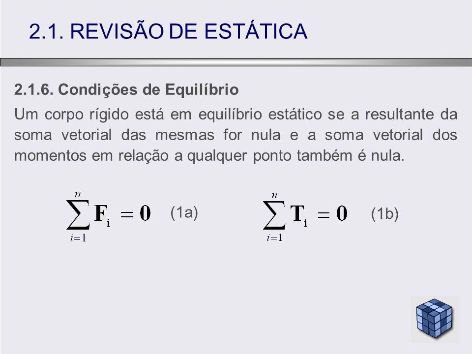 2.1.6. Condições de Equilíbrio Um corpo rígido está em equilíbrio estático se a resultante da soma vetorial das mesmas for nula e a soma vetorial dos