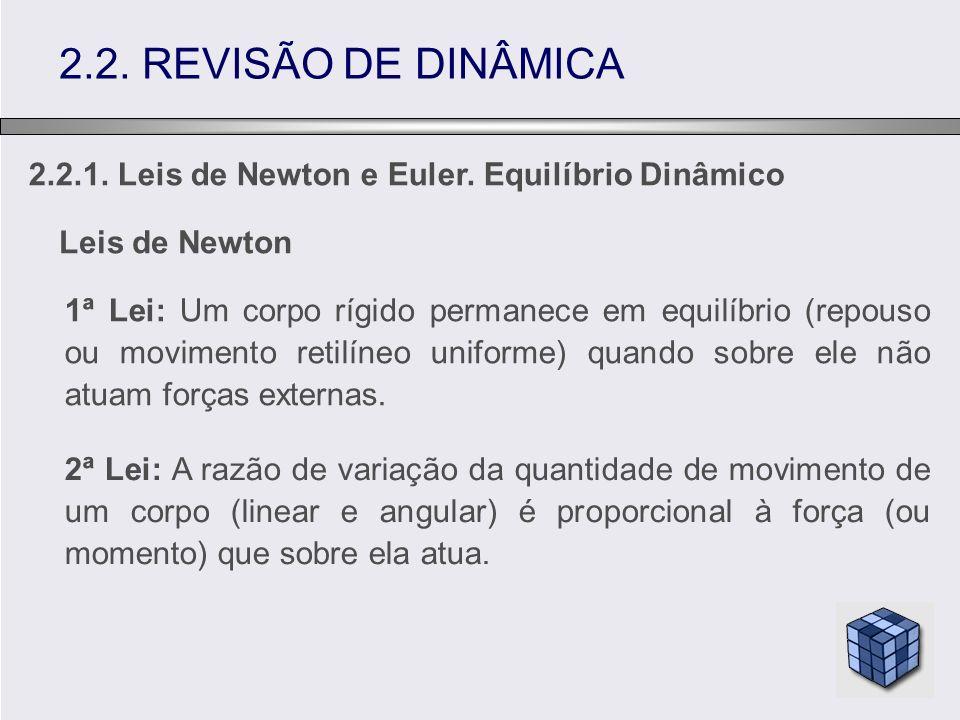 2.2.1. Leis de Newton e Euler. Equilíbrio Dinâmico 2.2. REVISÃO DE DINÂMICA Leis de Newton 1ª Lei: Um corpo rígido permanece em equilíbrio (repouso ou