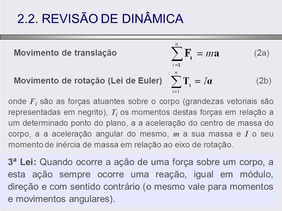 2.2. REVISÃO DE DINÂMICA Movimento de translação (2a) Movimento de rotação (Lei de Euler) (2b) onde F i são as forças atuantes sobre o corpo (grandeza