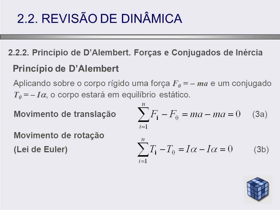 2.2.2. Princípio de DAlembert. Forças e Conjugados de Inércia 2.2. REVISÃO DE DINÂMICA Princípio de DAlembert Aplicando sobre o corpo rígido uma força