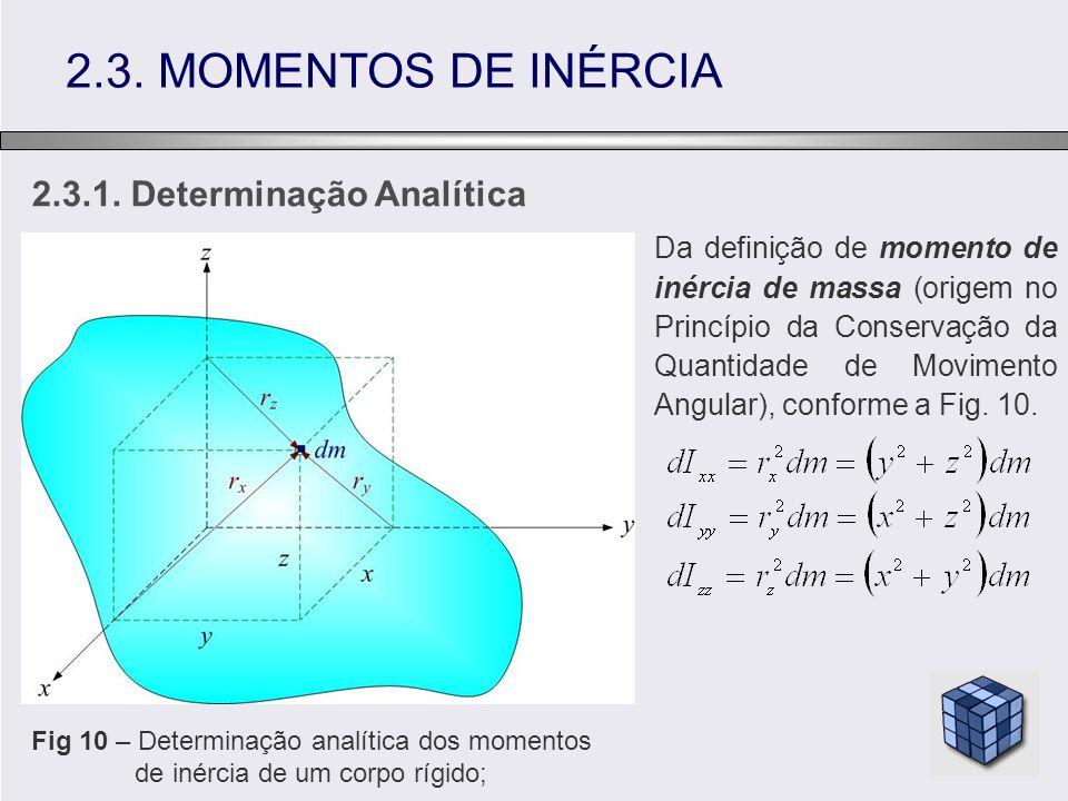 2.3.1. Determinação Analítica 2.3. MOMENTOS DE INÉRCIA Fig 10 – Determinação analítica dos momentos de inércia de um corpo rígido; Da definição de mom