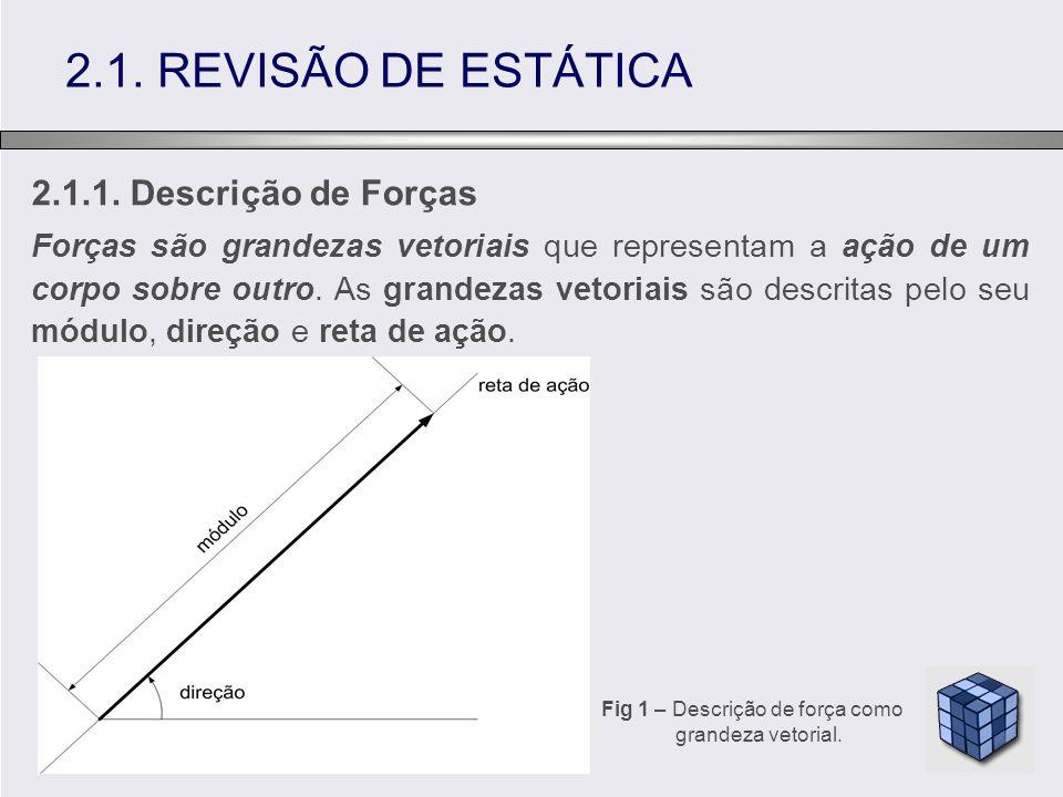 2.1.1. Descrição de Forças Forças são grandezas vetoriais que representam a ação de um corpo sobre outro. As grandezas vetoriais são descritas pelo se