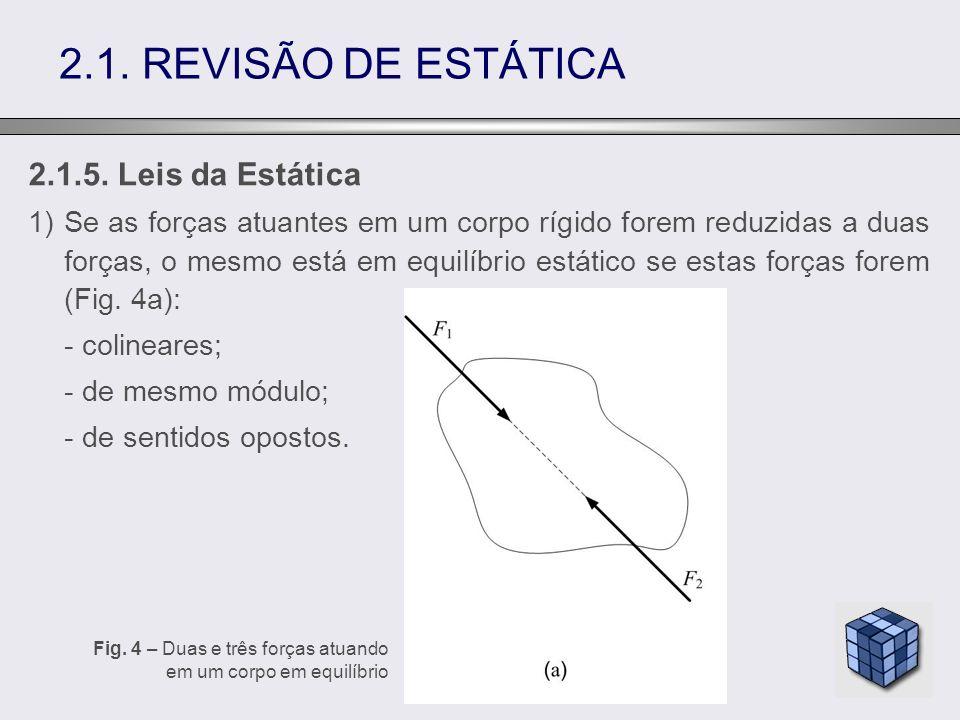 2.1.5. Leis da Estática 1)Se as forças atuantes em um corpo rígido forem reduzidas a duas forças, o mesmo está em equilíbrio estático se estas forças