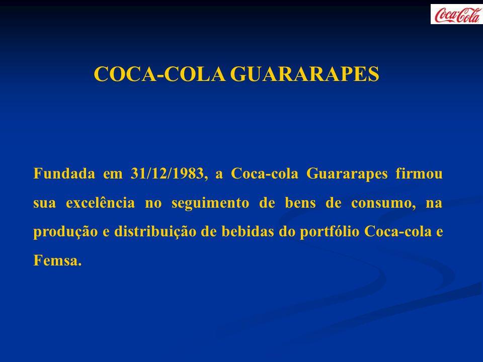 COCA-COLA GUARARAPES Fundada em 31/12/1983, a Coca-cola Guararapes firmou sua excelência no seguimento de bens de consumo, na produção e distribuição