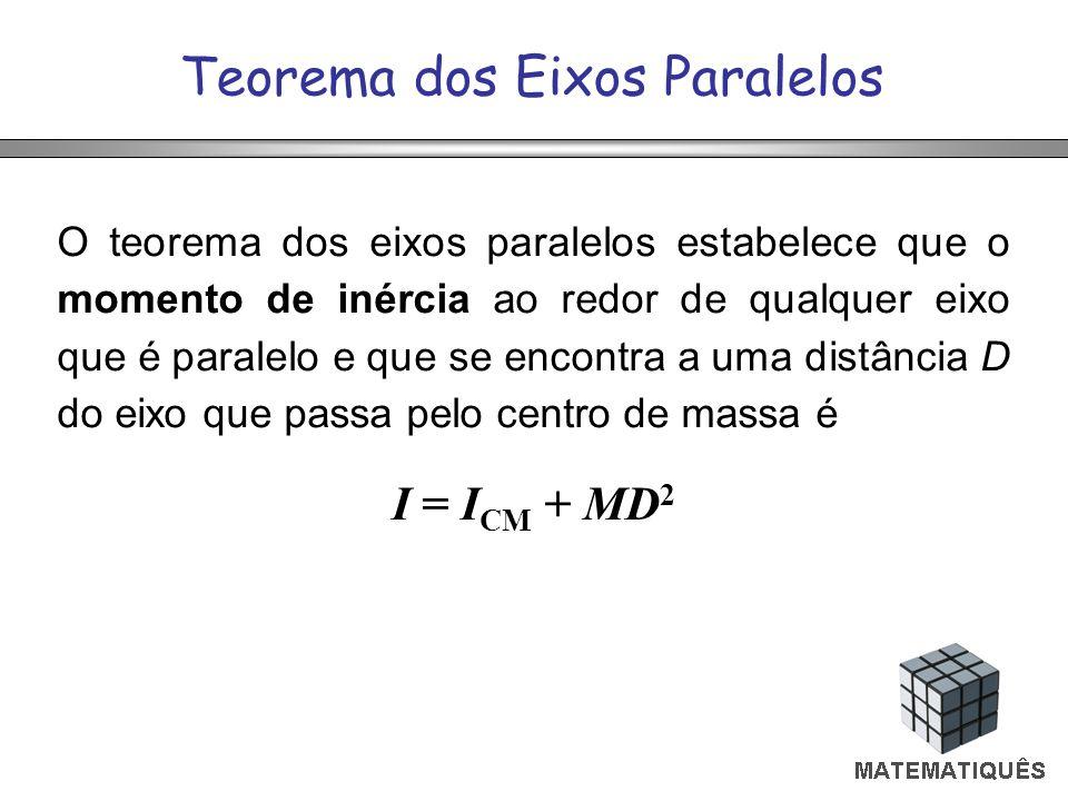 Teorema dos Eixos Paralelos O teorema dos eixos paralelos estabelece que o momento de inércia ao redor de qualquer eixo que é paralelo e que se encontra a uma distância D do eixo que passa pelo centro de massa é I = I CM + MD 2