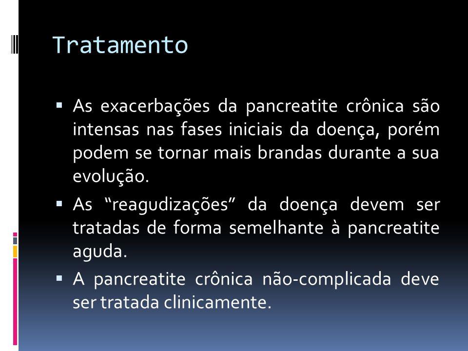 Tratamento As exacerbações da pancreatite crônica são intensas nas fases iniciais da doença, porém podem se tornar mais brandas durante a sua evolução
