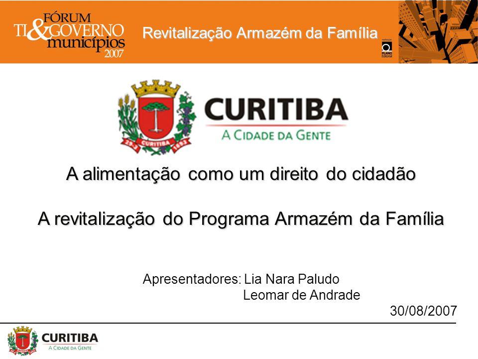 Revitalização Armazém da Família A alimentação como um direito do cidadão A revitalização do Programa Armazém da Família Apresentadores: Lia Nara Palu
