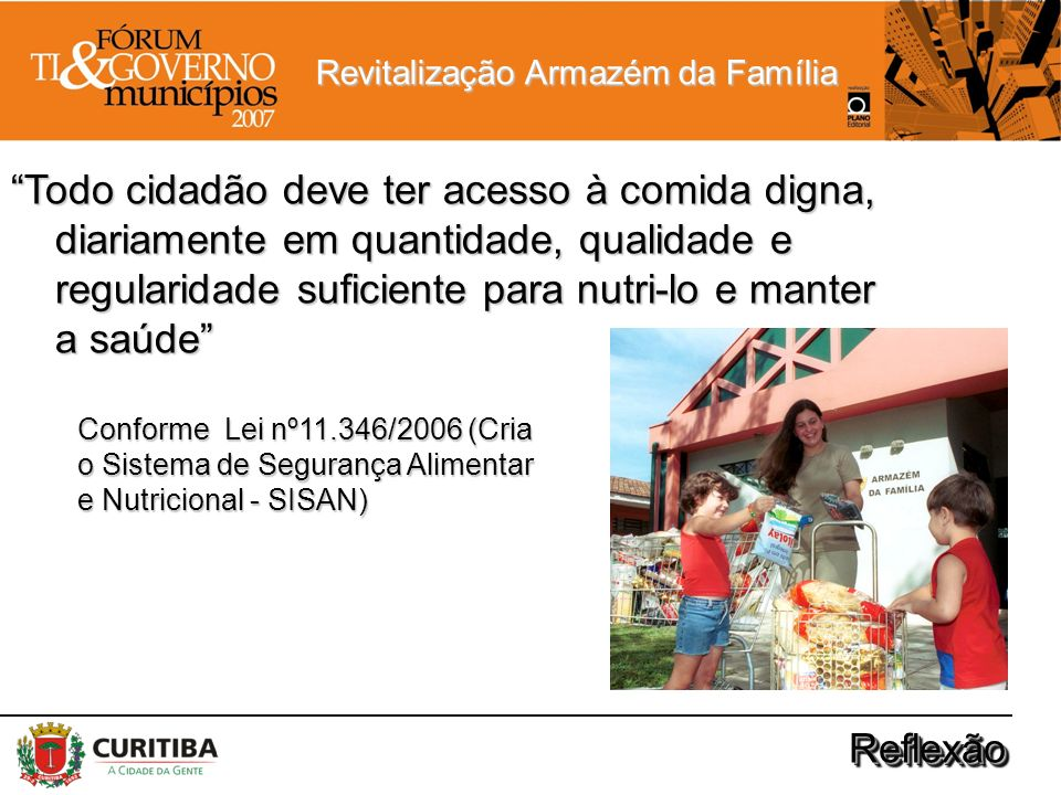 Revitalização Armazém da Família ReflexãoReflexão Todo cidadão deve ter acesso à comida digna, diariamente em quantidade, qualidade e regularidade suf