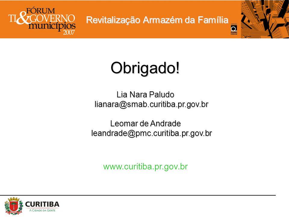 Revitalização Armazém da Família Obrigado! Lia Nara Paludo lianara@smab.curitiba.pr.gov.br Leomar de Andrade leandrade@pmc.curitiba.pr.gov.br www.curi