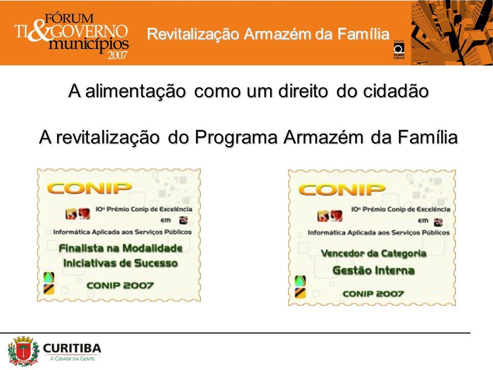 Revitalização Armazém da Família A alimentação como um direito do cidadão A revitalização do Programa Armazém da Família