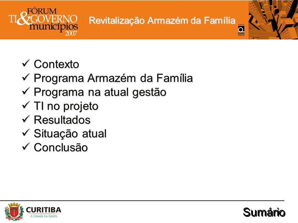 Revitalização Armazém da Família Sumário Contexto Contexto Programa Armazém da Família Programa Armazém da Família Programa na atual gestão Programa n