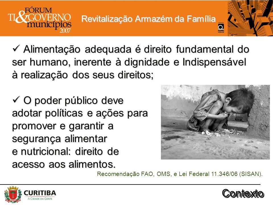 Revitalização Armazém da Família Alimentação adequada é direito fundamental do Alimentação adequada é direito fundamental do ser humano, inerente à di
