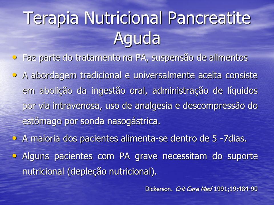 Terapia Nutricional Pancreatite Aguda Faz parte do tratamento na PA, suspensão de alimentos Faz parte do tratamento na PA, suspensão de alimentos A ab