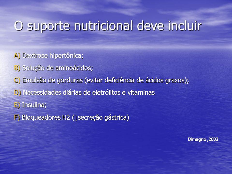 O suporte nutricional deve incluir A) Dextrose hipertônica; B) Solução de aminoácidos; C) Emulsão de gorduras (evitar deficiência de ácidos graxos); D