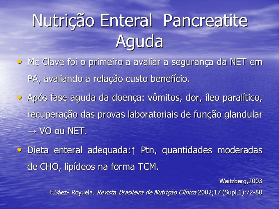 Nutrição Enteral Pancreatite Aguda Mc Clave foi o primeiro a avaliar a segurança da NET em PA, avaliando a relação custo benefício. Mc Clave foi o pri