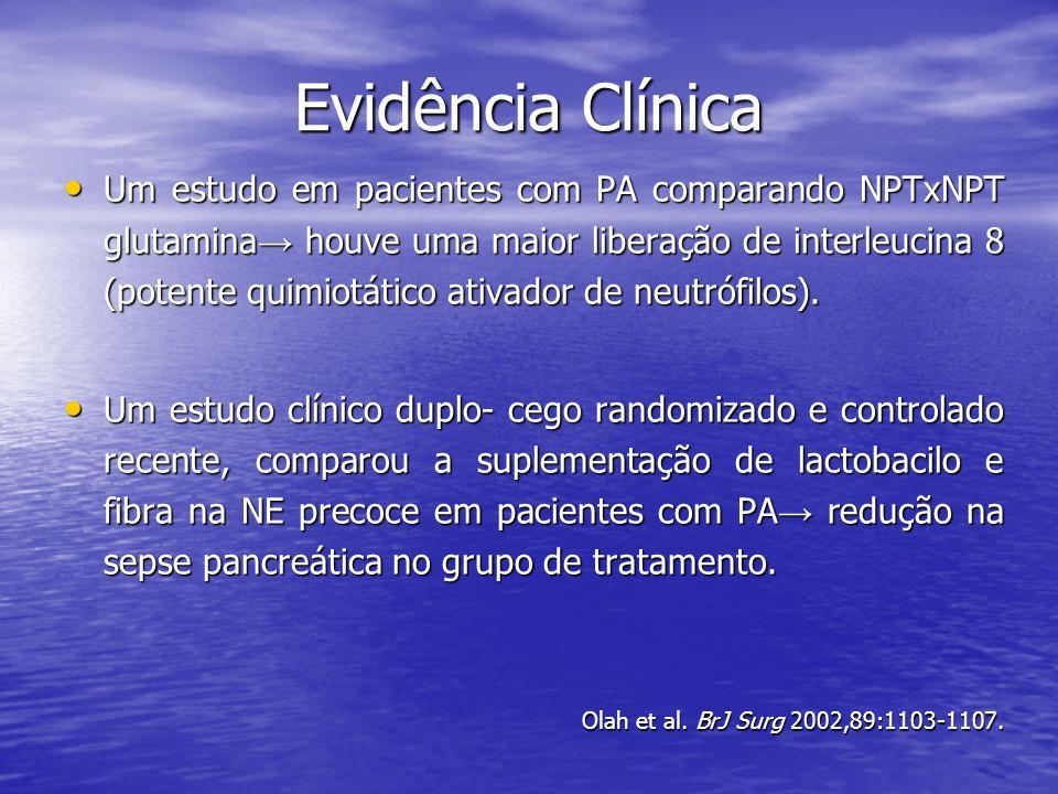 Um estudo em pacientes com PA comparando NPTxNPT glutamina houve uma maior liberação de interleucina 8 (potente quimiotático ativador de neutrófilos).