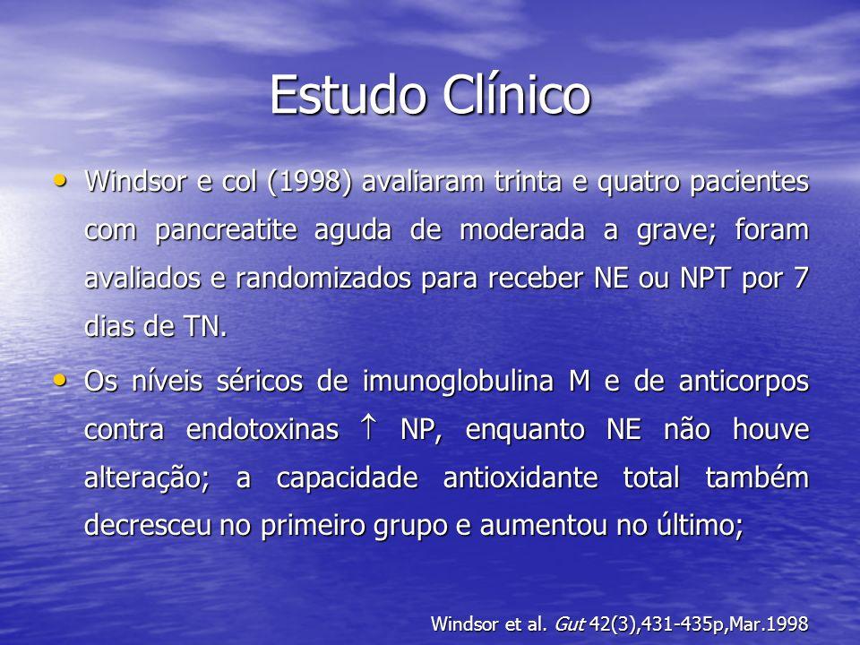 Estudo Clínico Windsor e col (1998) avaliaram trinta e quatro pacientes com pancreatite aguda de moderada a grave; foram avaliados e randomizados para