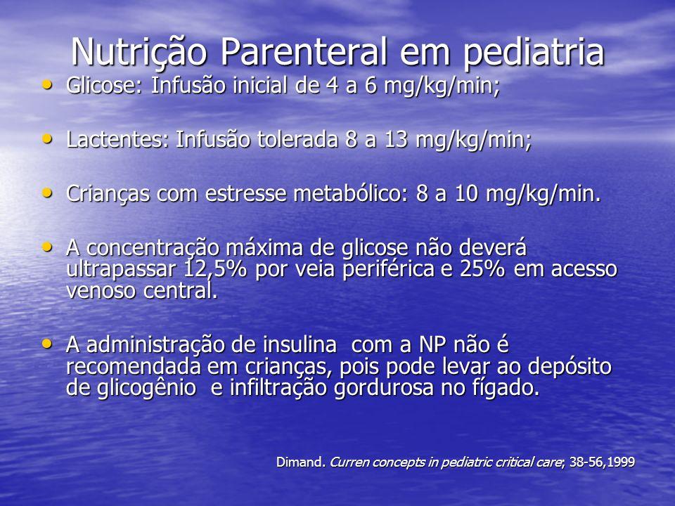 Nutrição Parenteral em pediatria Glicose: Infusão inicial de 4 a 6 mg/kg/min; Glicose: Infusão inicial de 4 a 6 mg/kg/min; Lactentes: Infusão tolerada