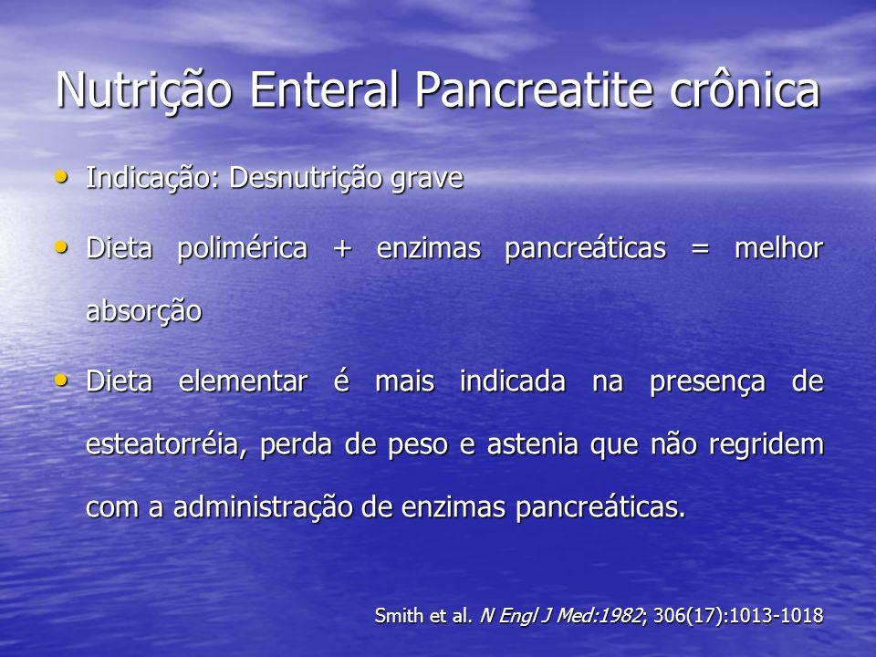 Nutrição Enteral Pancreatite crônica Indicação: Desnutrição grave Indicação: Desnutrição grave Dieta polimérica + enzimas pancreáticas = melhor absorç
