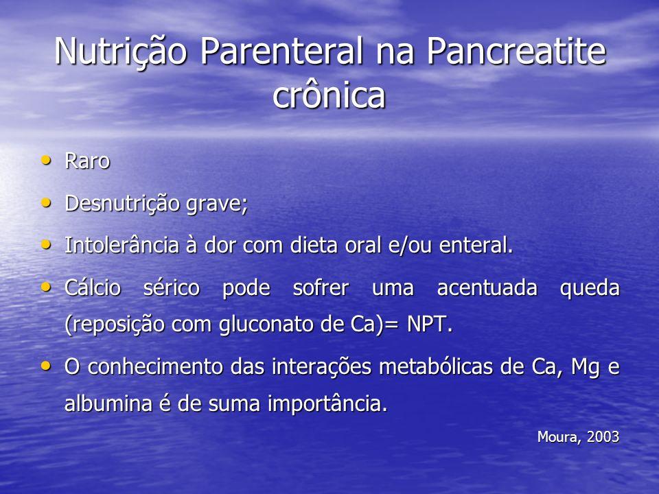 Nutrição Parenteral na Pancreatite crônica Raro Raro Desnutrição grave; Desnutrição grave; Intolerância à dor com dieta oral e/ou enteral. Intolerânci