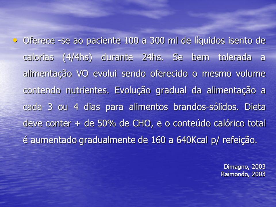 Oferece -se ao paciente 100 a 300 ml de líquidos isento de calorias (4/4hs) durante 24hs. Se bem tolerada a alimentação VO evolui sendo oferecido o me