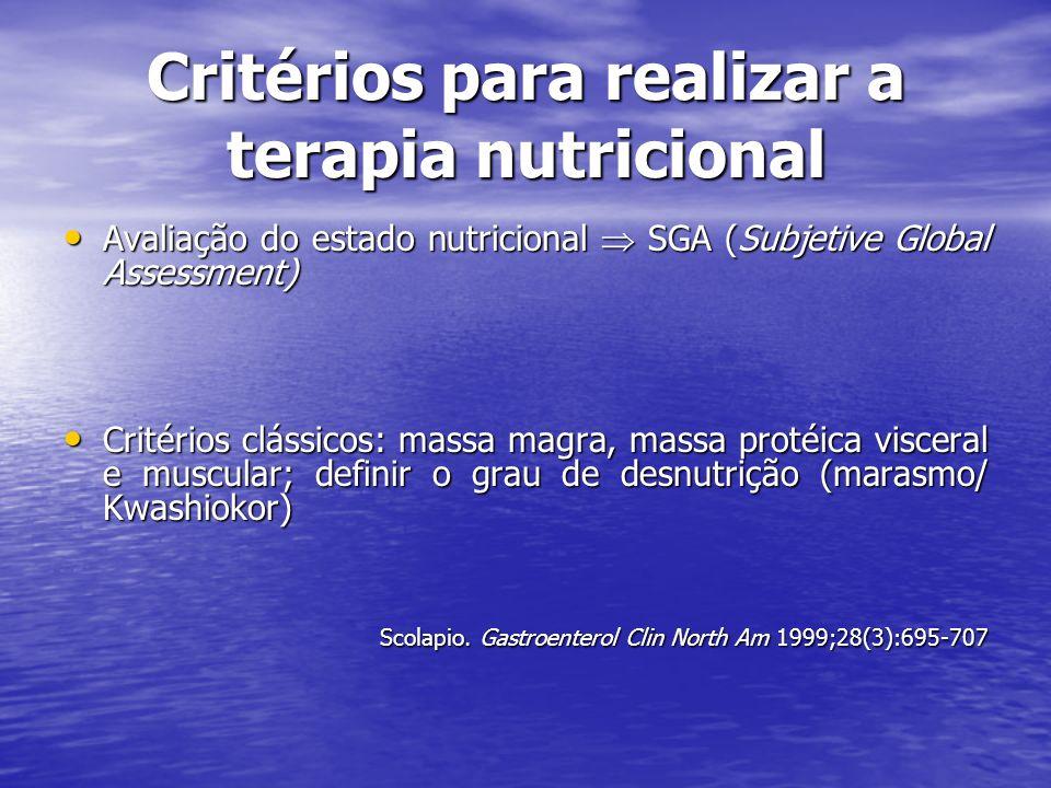 Critérios para realizar a terapia nutricional Avaliação do estado nutricional SGA (Subjetive Global Assessment) Avaliação do estado nutricional SGA (S