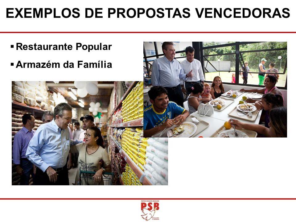 Restaurante Popular Armazém da Família EXEMPLOS DE PROPOSTAS VENCEDORAS