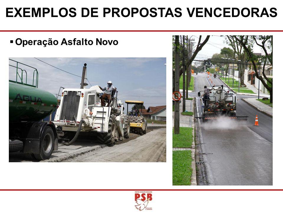Operação Asfalto Novo EXEMPLOS DE PROPOSTAS VENCEDORAS