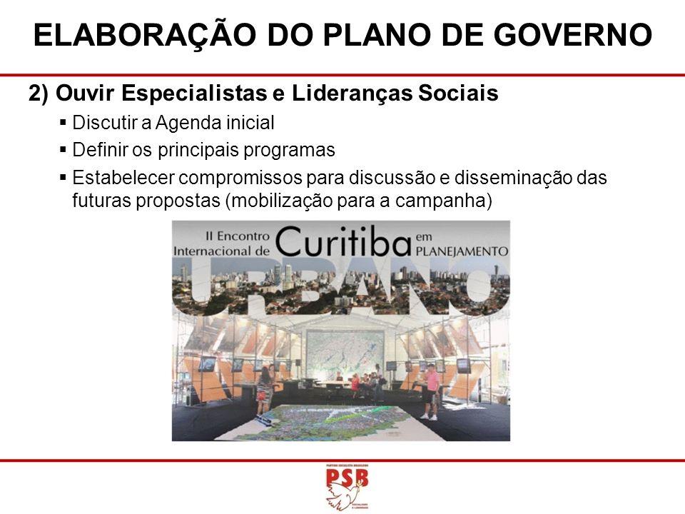 2)Ouvir Especialistas e Lideranças Sociais Discutir a Agenda inicial Definir os principais programas Estabelecer compromissos para discussão e dissemi
