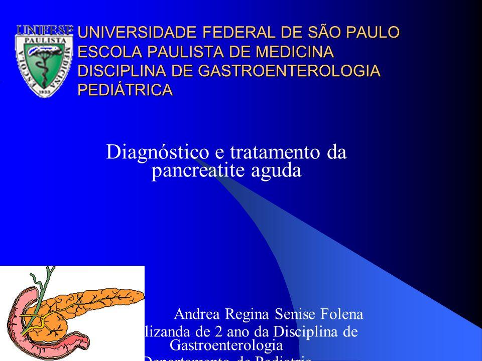 Introdução Introdução A pancreatite em criança é uma doença caracterizada por inflamação do pâncreas e composta clinicamente por dor abdominal súbita, geralmente epigástrica, e associada com a elevação de enzimas digestivas acinares, amilase e lipase.