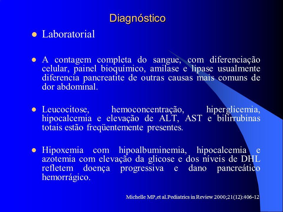 Diagnóstico Diagnóstico Laboratorial A contagem completa do sangue, com diferenciação celular, painel bioquímico, amilase e lipase usualmente diferenc