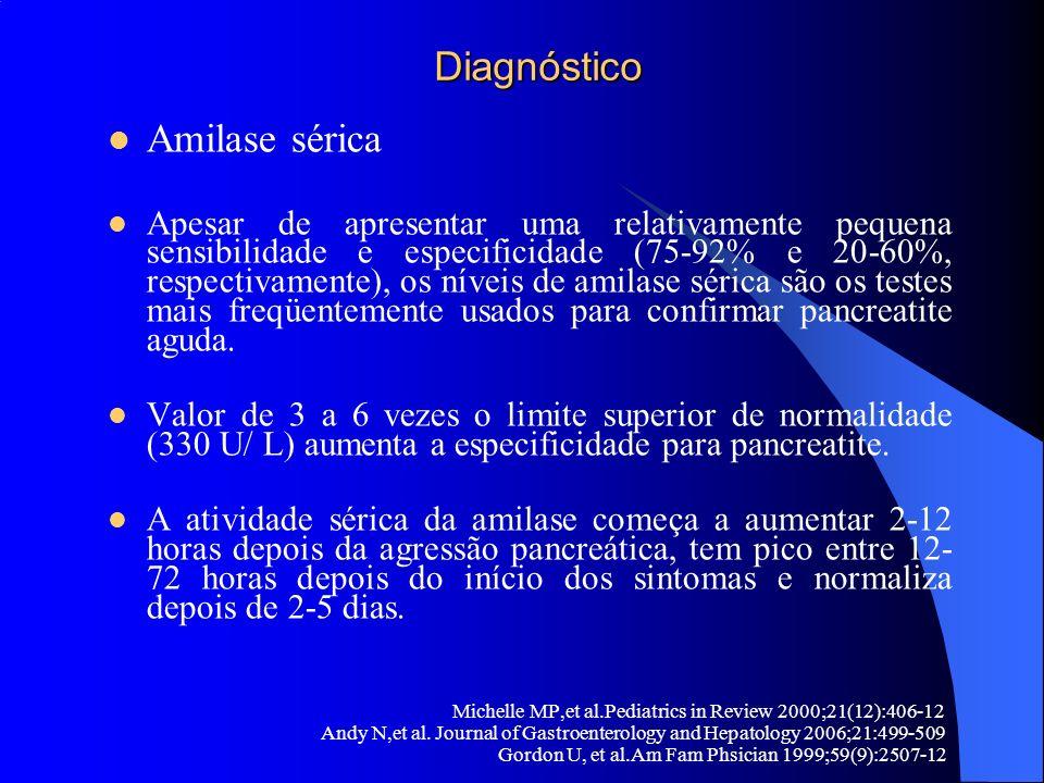 Diagnóstico Diagnóstico Amilase sérica Apesar de apresentar uma relativamente pequena sensibilidade e especificidade (75-92% e 20-60%, respectivamente