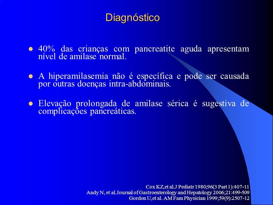 Diagnóstico Diagnóstico 40% das crianças com pancreatite aguda apresentam nível de amilase normal. A hiperamilasemia não é específica e pode ser causa