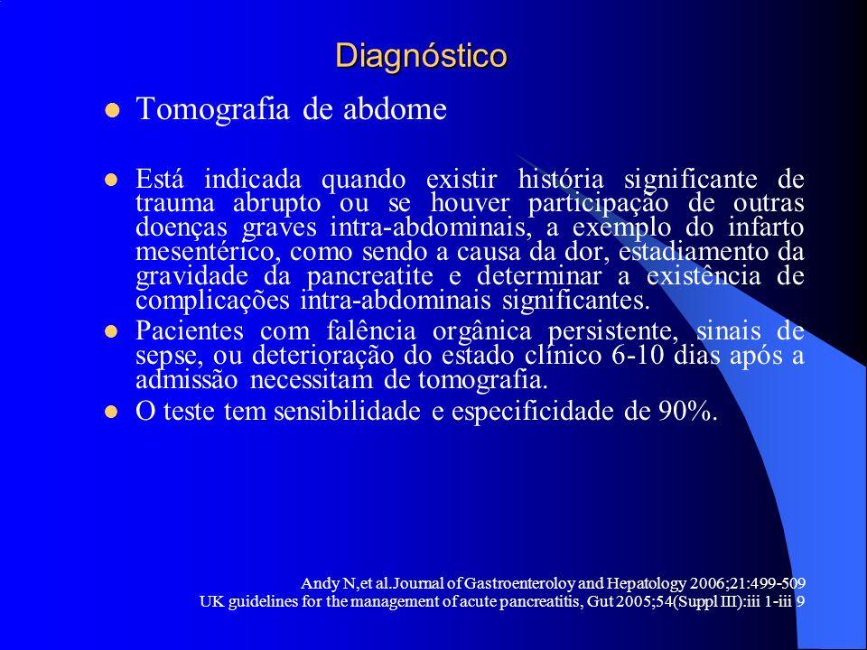 Diagnóstico Diagnóstico Tomografia de abdome Está indicada quando existir história significante de trauma abrupto ou se houver participação de outras