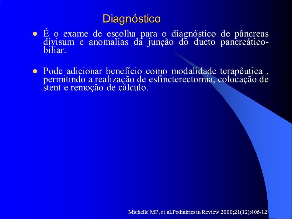 Diagnóstico Diagnóstico É o exame de escolha para o diagnóstico de pâncreas divisum e anomalias da junção do ducto pancreático- biliar. Pode adicionar