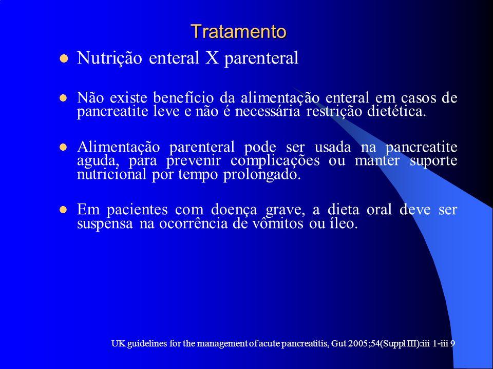 Tratamento Tratamento Nutrição enteral X parenteral Não existe benefício da alimentação enteral em casos de pancreatite leve e não é necessária restri