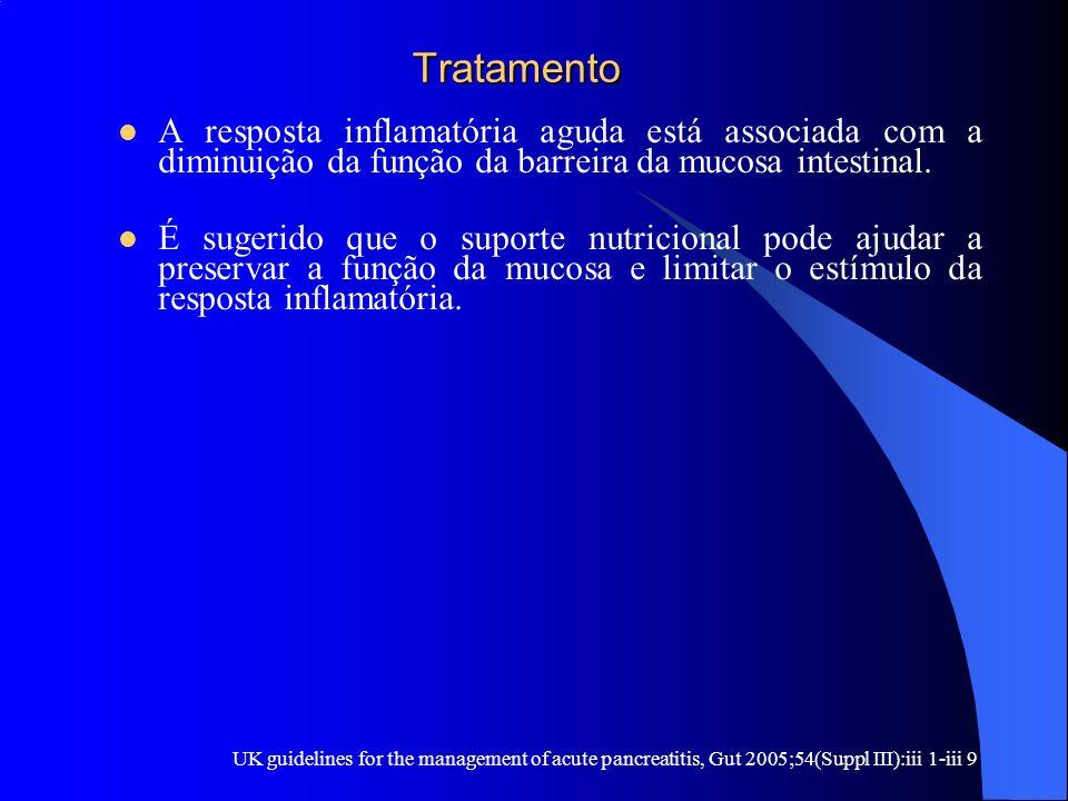 Tratamento Tratamento A resposta inflamatória aguda está associada com a diminuição da função da barreira da mucosa intestinal. É sugerido que o supor