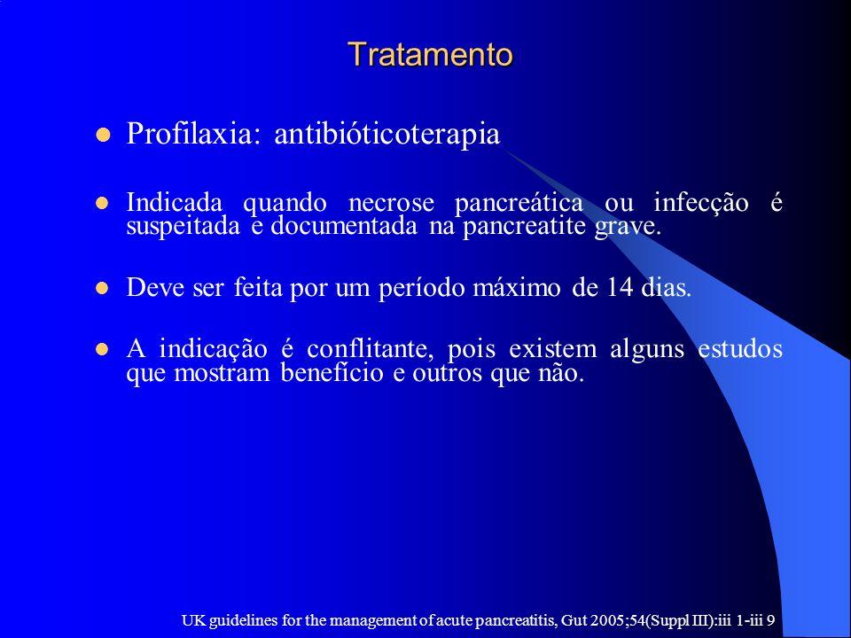 Tratamento Tratamento Profilaxia: antibióticoterapia Indicada quando necrose pancreática ou infecção é suspeitada e documentada na pancreatite grave.