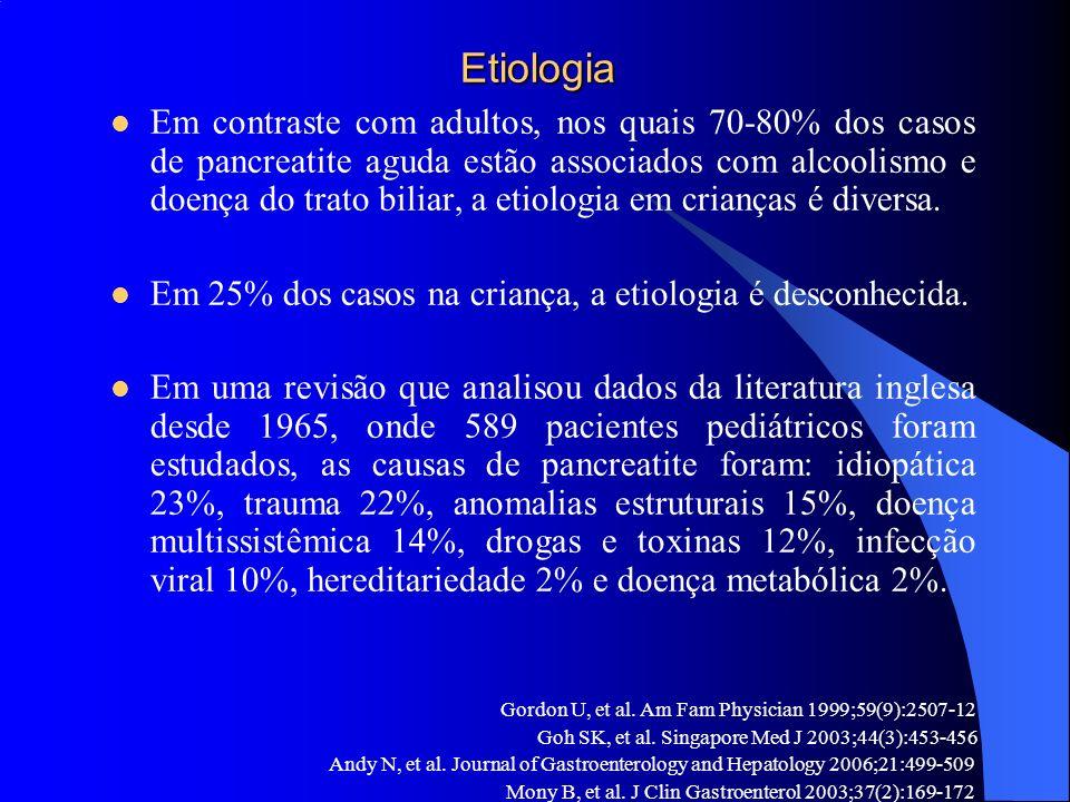 Etiologia Etiologia Em contraste com adultos, nos quais 70-80% dos casos de pancreatite aguda estão associados com alcoolismo e doença do trato biliar