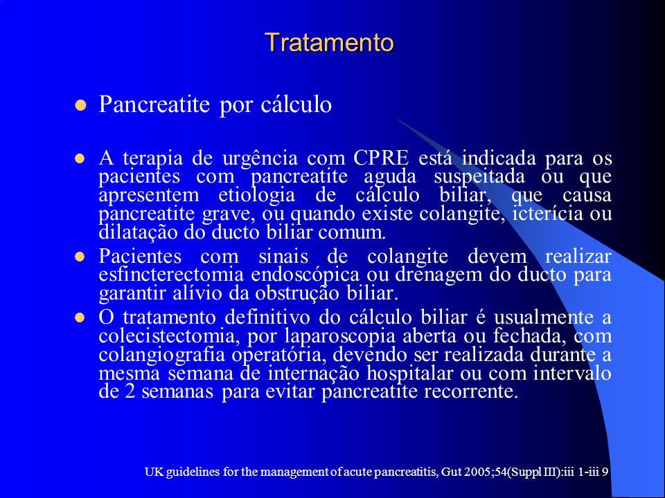 Tratamento Tratamento Pancreatite por cálculo A terapia de urgência com CPRE está indicada para os pacientes com pancreatite aguda suspeitada ou que a