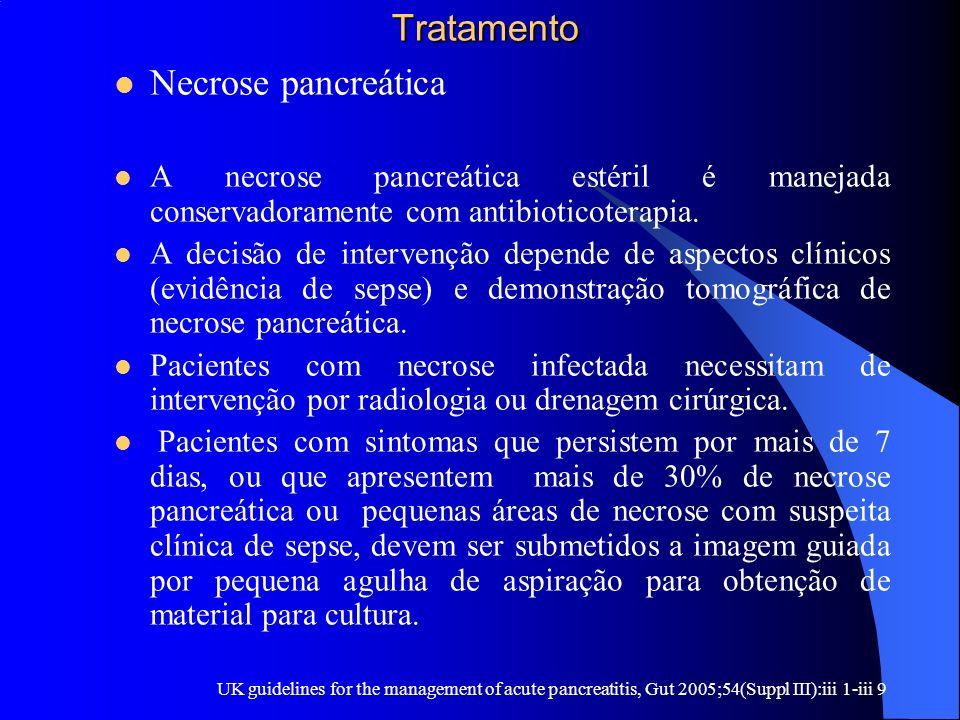 Tratamento Tratamento Necrose pancreática A necrose pancreática estéril é manejada conservadoramente com antibioticoterapia. A decisão de intervenção