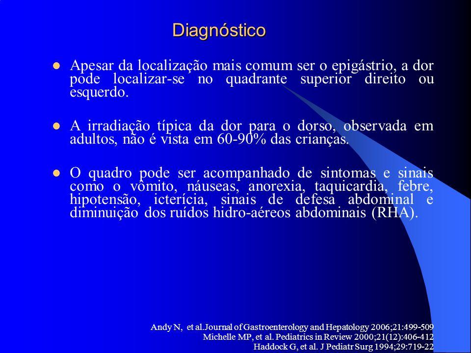 Diagnóstico Diagnóstico Apesar da localização mais comum ser o epigástrio, a dor pode localizar-se no quadrante superior direito ou esquerdo. A irradi
