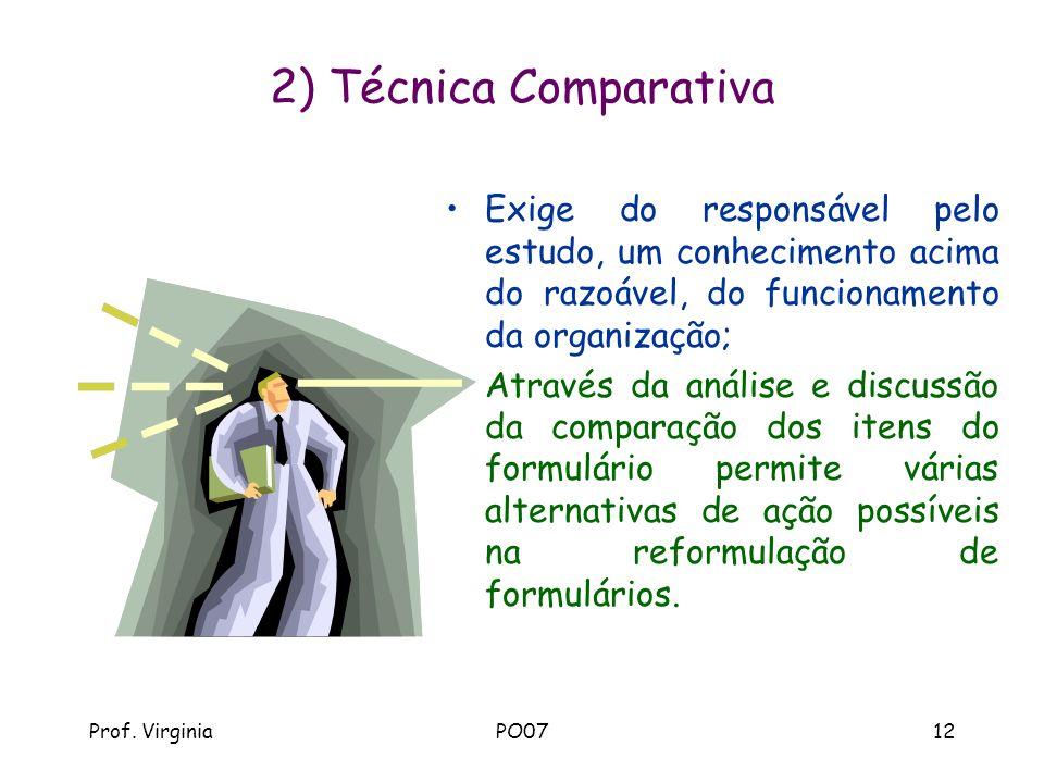 Prof. VirginiaPO0712 2) Técnica Comparativa Exige do responsável pelo estudo, um conhecimento acima do razoável, do funcionamento da organização; Atra